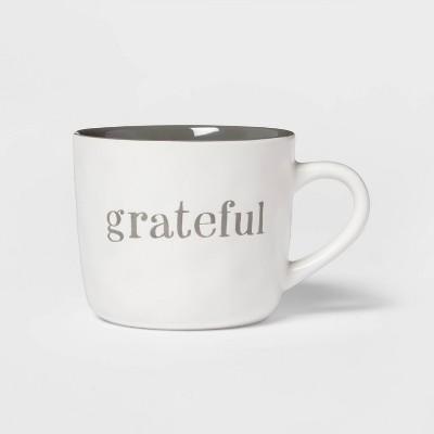 16oz Stoneware Grateful Christmas Mug White - Threshold™