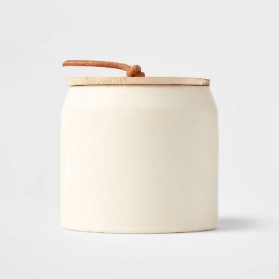 12oz Lidded Ceramic Wooden Wick Vanilla Pumpkin Candle - Threshold™