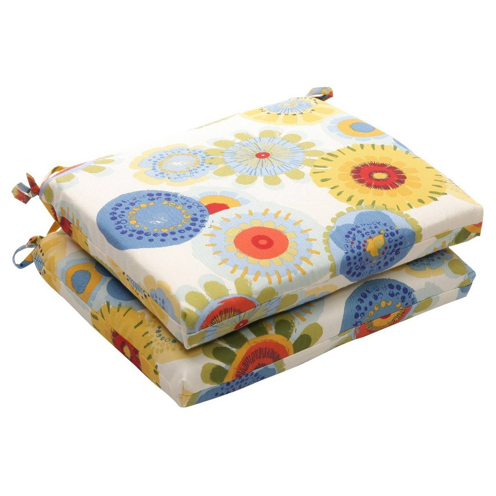 Outdoor 2 Piece Chair Cushion Set Blue White Yellow Floral
