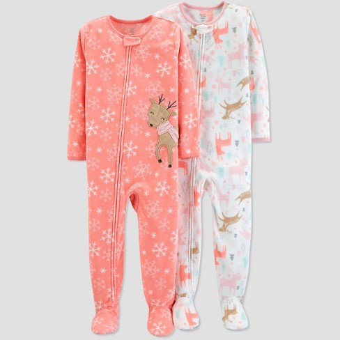 b9247fab294546 Toddler Girls' Fleece Snowflake Reindeers Pajama Set - Just One You® made  by carter's Coral