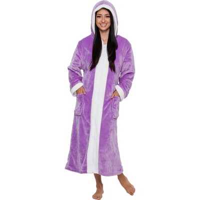 Silver Lilly - Women's Plush Zip Up Sherpa Lined Hooded Robe