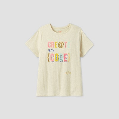Womens' Plus Size Short Sleeve 'Create With Code' Graphic T-Shirt - Cat & Jack™ Cream