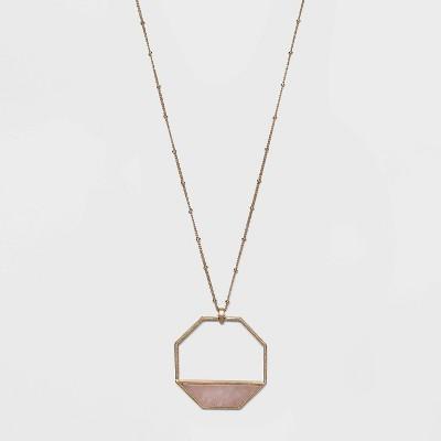 Semi-Precious Rose Quartz Inlay Octagonal Pendant Necklace - Universal Thread™ Light Pink