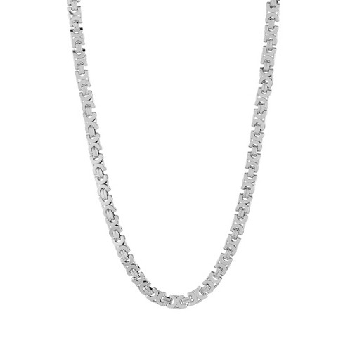"Men's Crucible Polished Stainless Steel Flat Byzantine Chain Necklace (10mm) - 22"" - image 1 of 1"