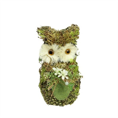 """Northlight 8.5"""" Brown and Green Decorative Owl Spring Table Top Figure"""