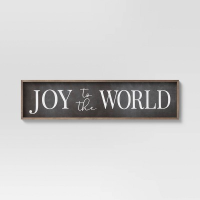"10"" x 40"" Joy to the World Wooden Wall Decor Sign White/Black - Threshold™"