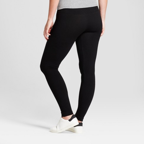 90782d08c0083d Women's Solid Cotton Blend Twill Seamless Leggings With 5