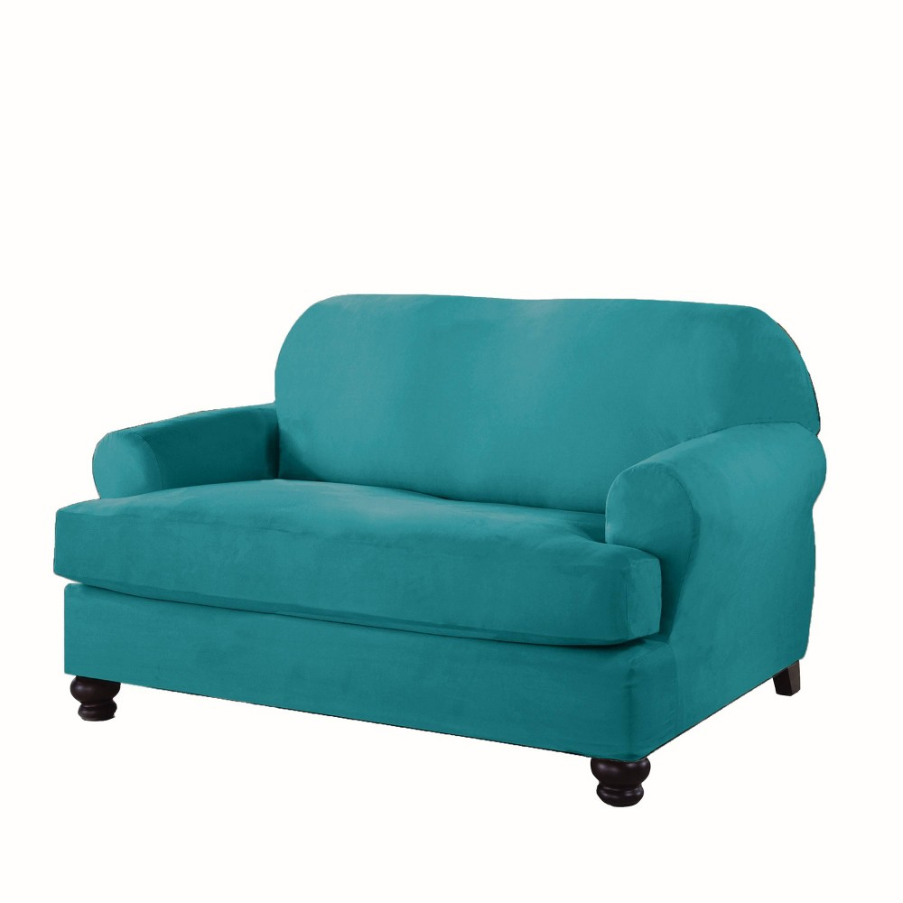Image of Love T Stretch Fit Slipcover Aqua - Serta, Blue