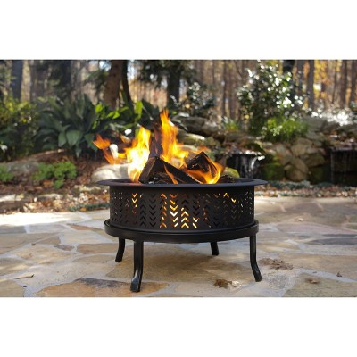 "26"" Chevron Outdoor Fire Pit - Black - Threshold™"
