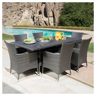 Malta 7pc Rectangle All-Weather Wicker Patio Dining Set - Gray - Home - Christopher Knight Home