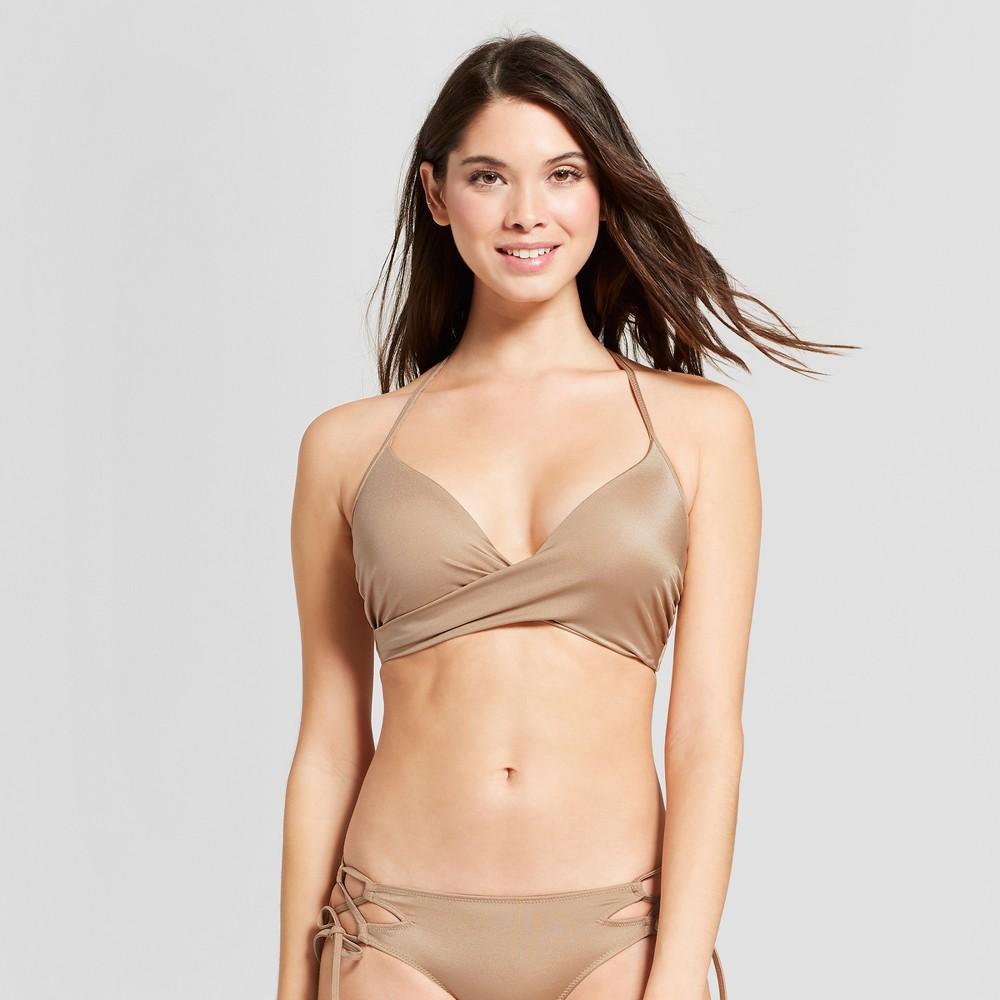 Women's Dream Lightly Lined Wrap Bikini Top - Shade & Shore Gold Champagne 34C, Yellow
