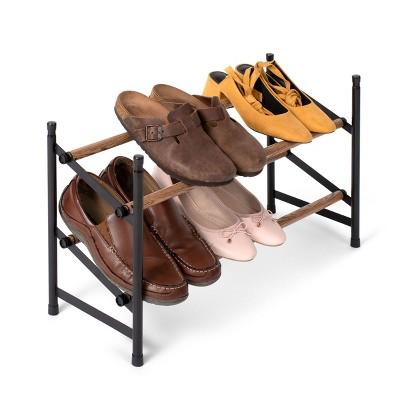 "Juvale Free Standing 2 Tier 12 Pair Shoe Rack Shelf Organizer for Entryway Closet, 24""-45"" Expandable, Black & Oak Grain Metal"