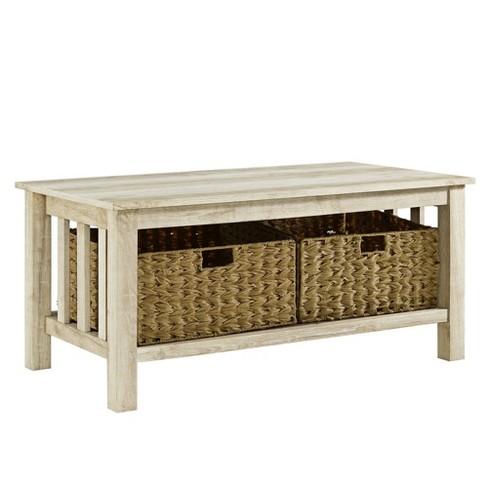 40 Wood Storage Coffee Table With Totes White Oak Saracina Home Target