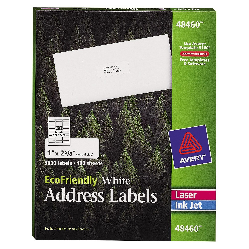 Avery EcoFriendly Labels, 1 x 2-5/8, White, 3000/Pack