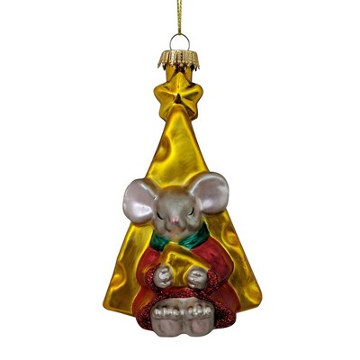 """Christmas by Krebs 4"""" Gold and Red Mouse in Front of Cheese Slice Figurine Christmas Ornament"""