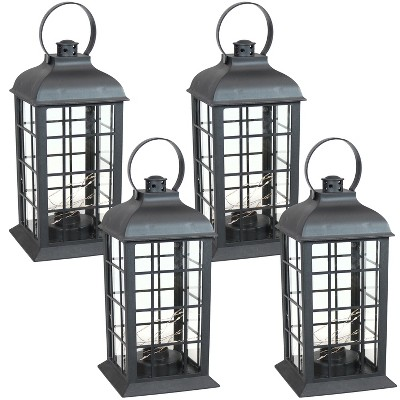 """4ct 13"""" Oyster Bay Plastic and Glass Battery Operated Indoor LED Candle Lantern - Black - Sunnydaze Decor"""
