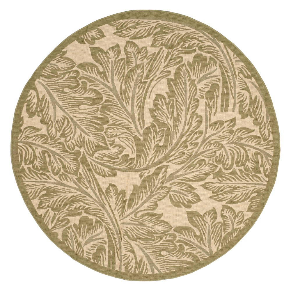 Leon Round 6'7 Patio Rug - Natural/Olive - Safavieh, Green