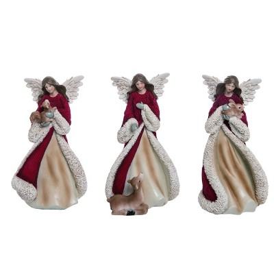 Transpac Resin 9 in. Red Christmas Sweater Angel Set of 3