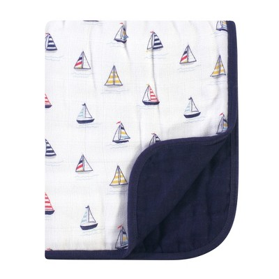 Hudson Baby Infant Boy Muslin Tranquility Quilt Blanket, Sailboat, One Size