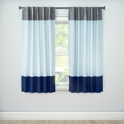 "63"" Colorblock Blackout Curtain Panel Stripe Blue - Pillowfort™"