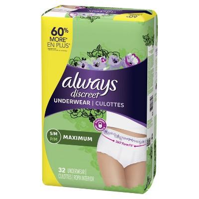 Always Discreet Incontinence Underwear, Maximum Absorbency, Small/Medium, 32ct