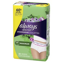 Always Discreet Incontinence & Postpartum Underwear for Women - Maximum Protection - S/M