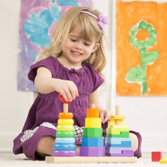 Melissa & Doug Geometric Stacker - Wooden Educational Toy image number null
