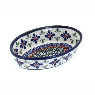 Blue Rose Polish Pottery Mosaic Flower Extra Small Oval Baker