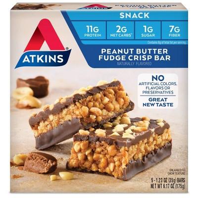 Atkins Snack Bar - Peanut Butter Fudge Crisp - 5ct