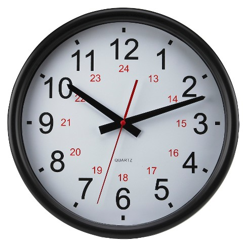 "24-Hour 14"" Wall Clock White/Black - TimeKeeper® - image 1 of 1"