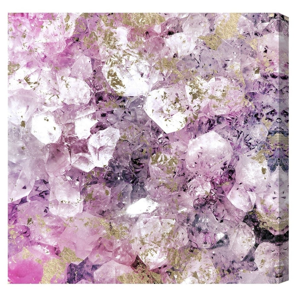 "Image of ""Oliver Gal Unframed Wall """"Crystal Romance"""" Canvas Art (20x20), Purple Gold"""