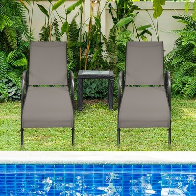 Costway 2PCS Patio Lounge Chair Chaise Adjustable Reclining Armrest Grey\Brown