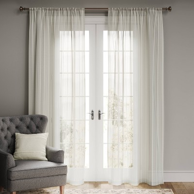 Leno Weave Sheer Curtain Panel Cream - Threshold™