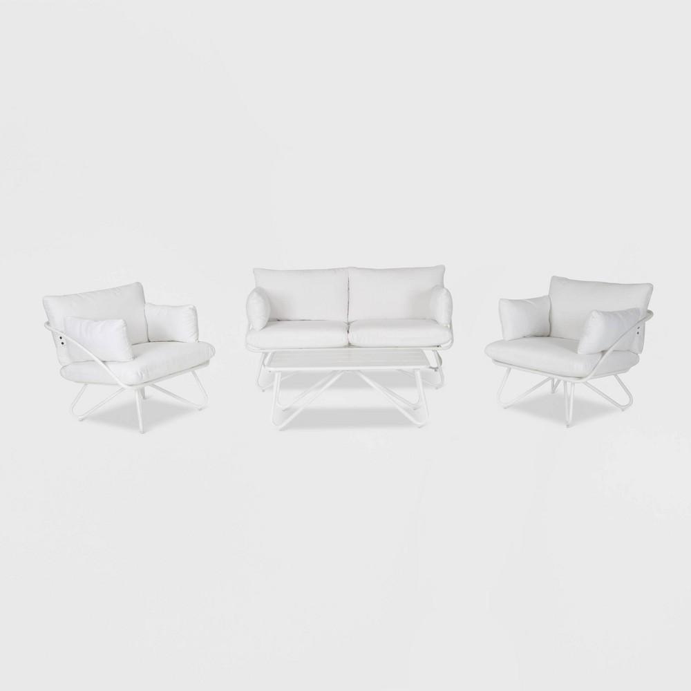 Teddi 4pc Patio Conversation Set - White - Novogratz