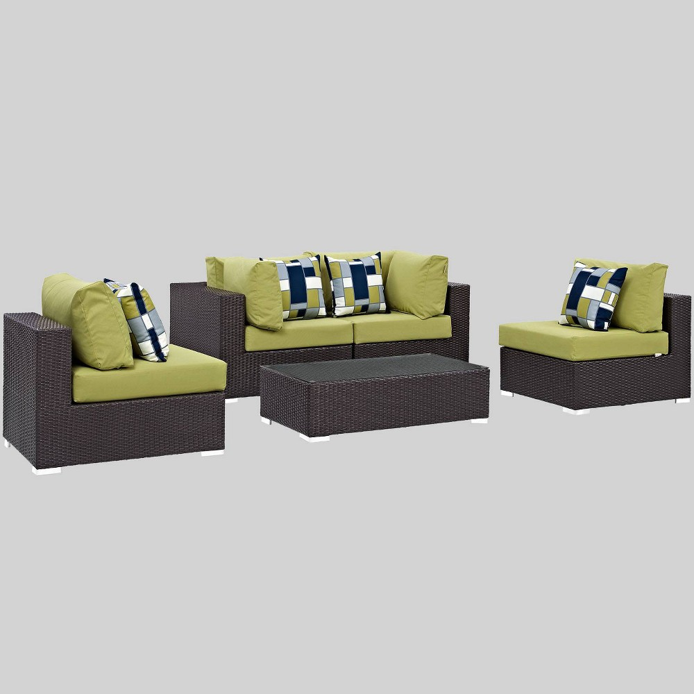 Convene 5pc Outdoor Patio Sectional Set - Peridot - Modway