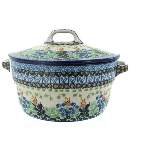 Blue Rose Polish Pottery Lily of the Valley Covered Round Baker - image 1 of 2