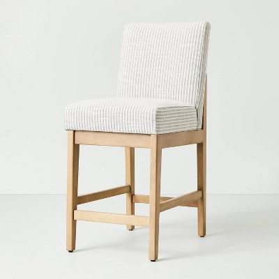 Upholstered Natural Wood Slipper Counter Stool Microstripe Gray/Oatmeal - Hearth & Hand™ with Magnolia
