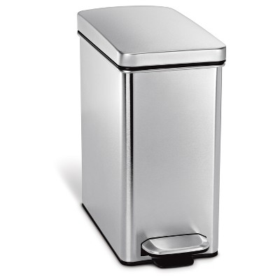 Simplehuman 10 Liter Profile Step Trash Can, Fingerprint-Proof Brushed Stainless Steel