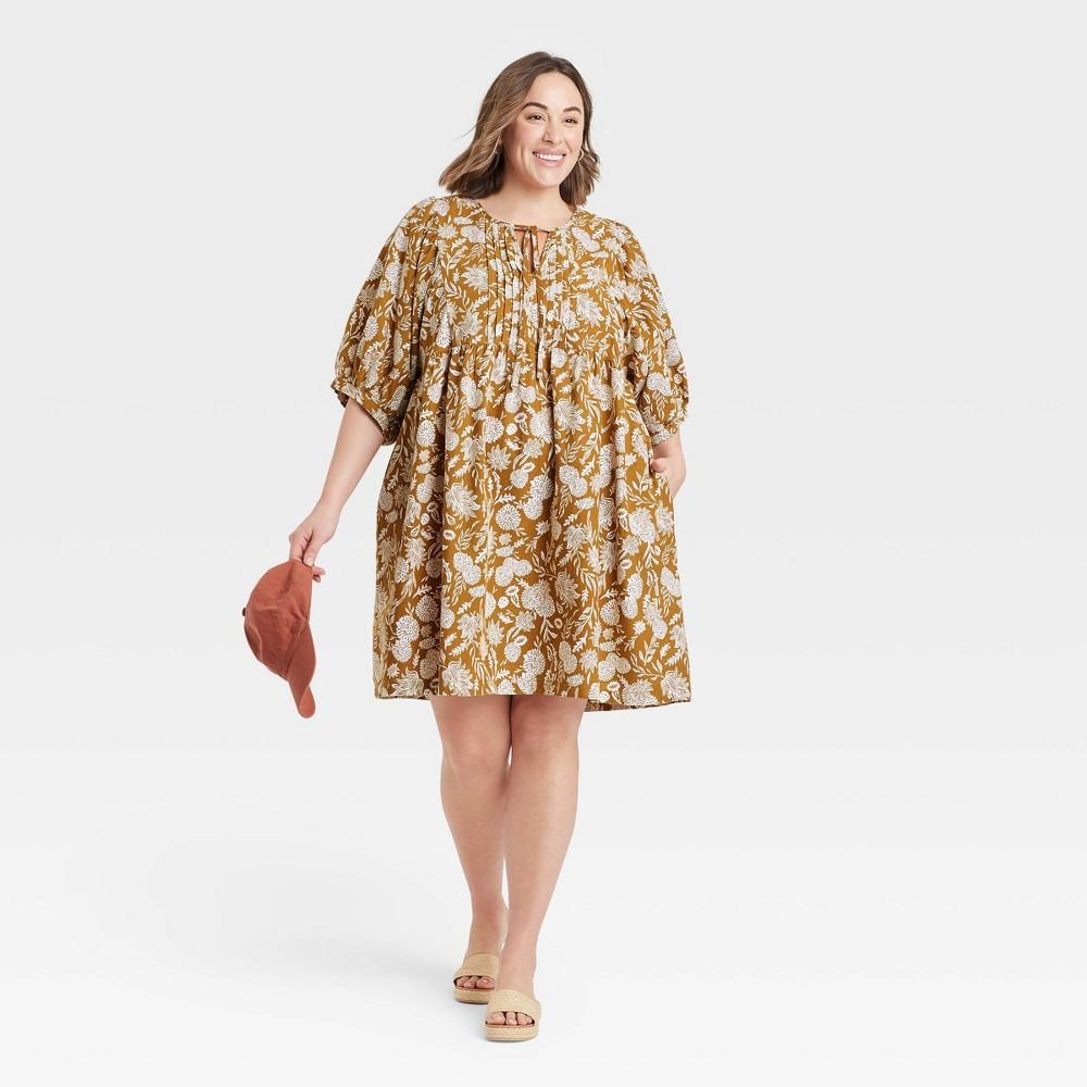 Women 39 S Plus Size Floral Print Puff Elbow Sleeve Babydoll Dress Universal Thread 8482 Brown 3x
