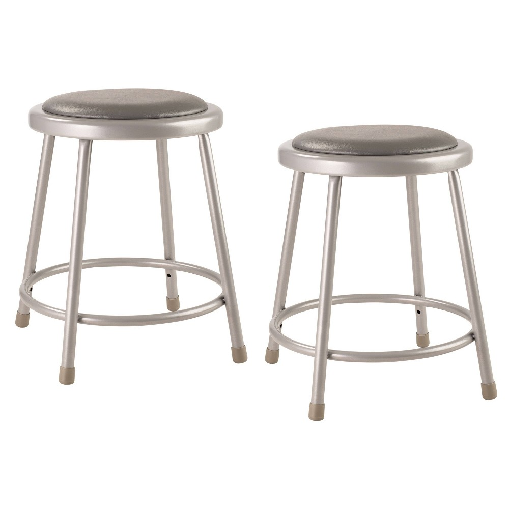 "Image of ""2pk 18"""" Heavy Duty Vinyl Padded Steel Stool Gray - Hampton Collection"""