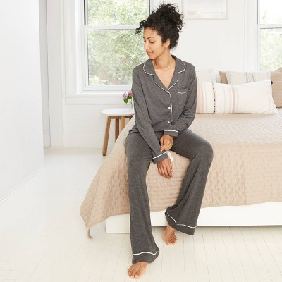 Women's Beautifully Soft Long Sleeve Notch Collar Top and Pants Pajama Set - Stars Above™ Dark Gray M
