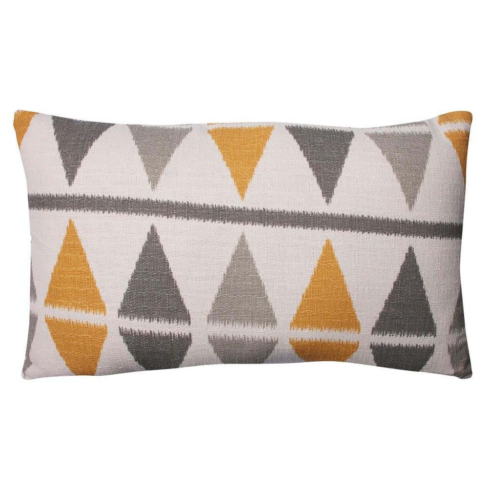 """Image of """"Pillow Perfect Ikat Argyle Birch Rectangular Throw Pillow - .5"""""""" - Gray"""""""