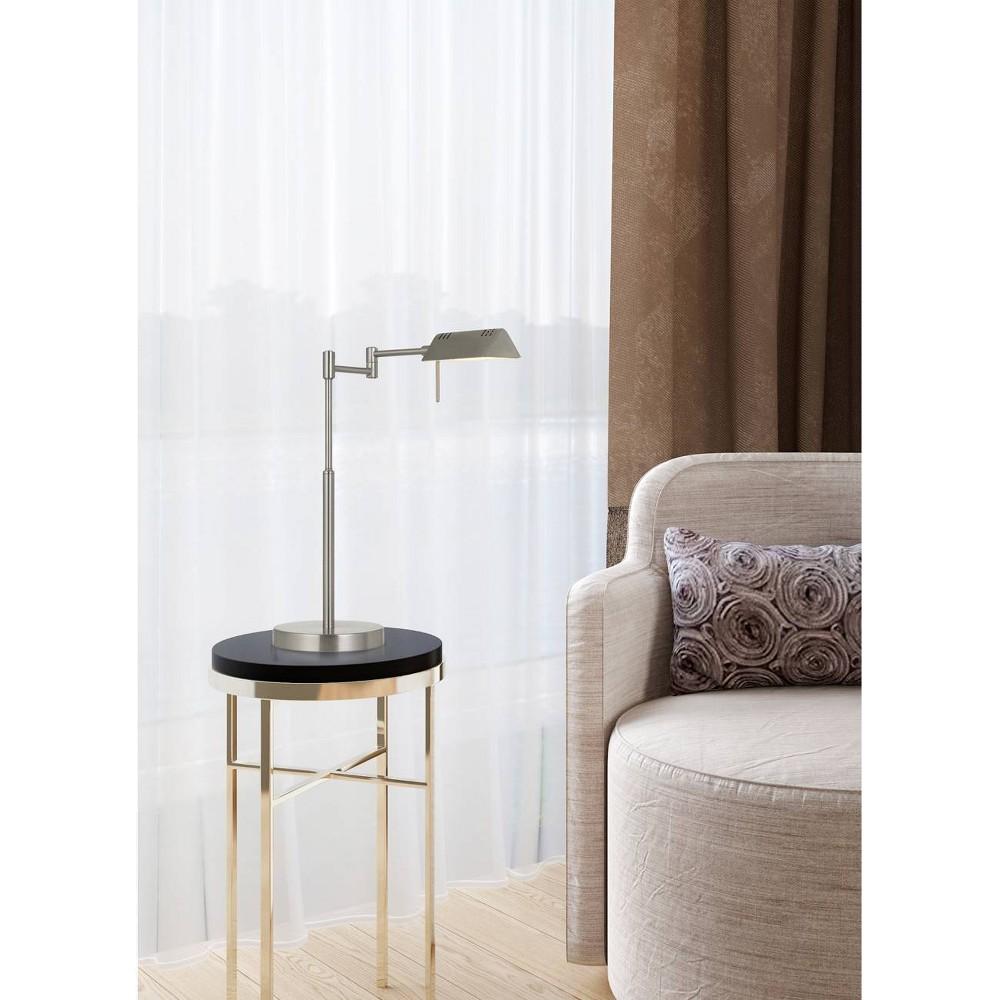 Clemson Metal Led Pharmacy Swing Arm Adjustable Desk Lamp Brushed Steel (Includes Energy Efficient Light Bulb) - Cal Lighting