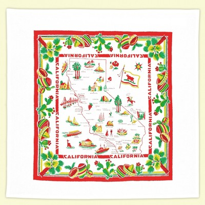 """Tabletop 22.0"""" California Flour Sack Towel State Map 100% Cotton Red And White Kitchen Company  -  Kitchen Towel"""