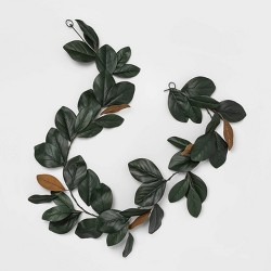 "72"" x 6"" Artificial Magnolia Leaves Garland Green - Threshold™"