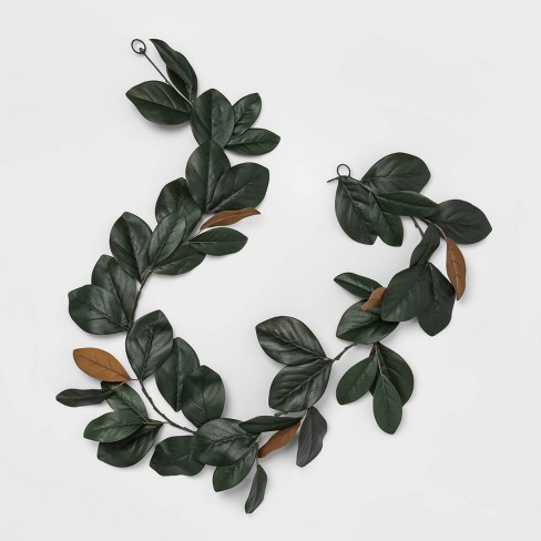 "72"" x 6"" Artificial Magnolia Leaves Garland Green - Threshold™ - image 1 of 4"