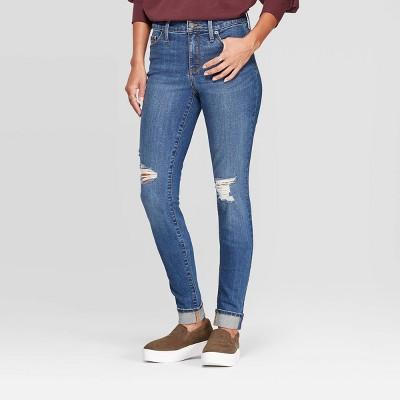 Women's Cuffed High Rise Distressed Skinny Jeans   Universal Thread™ Medium Blue by Universal Thread