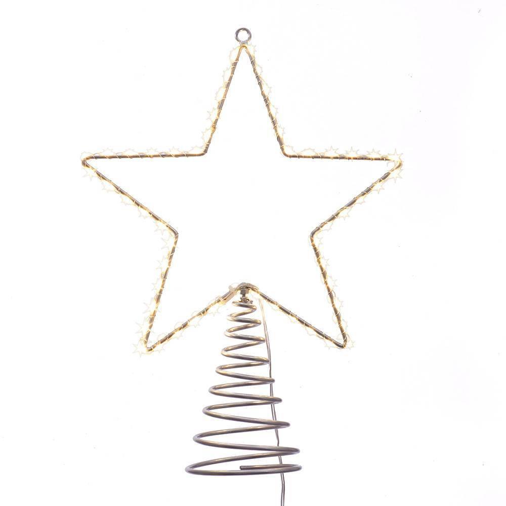 """Image of """"17.5"""""""" Kurt Adler Metal Lighted LED Star Tree Topper, Gold"""""""