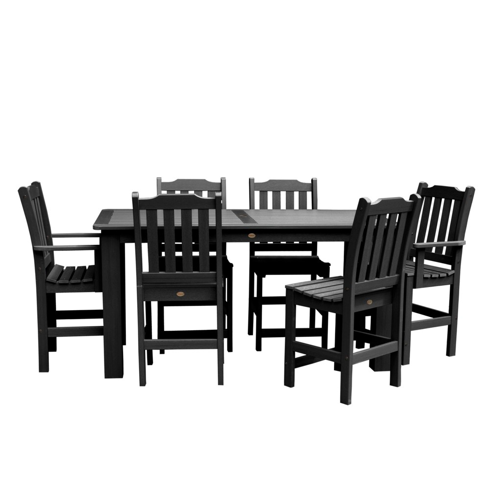Lehigh 7pc Rectangular Counter Dining Set Black - Highwood