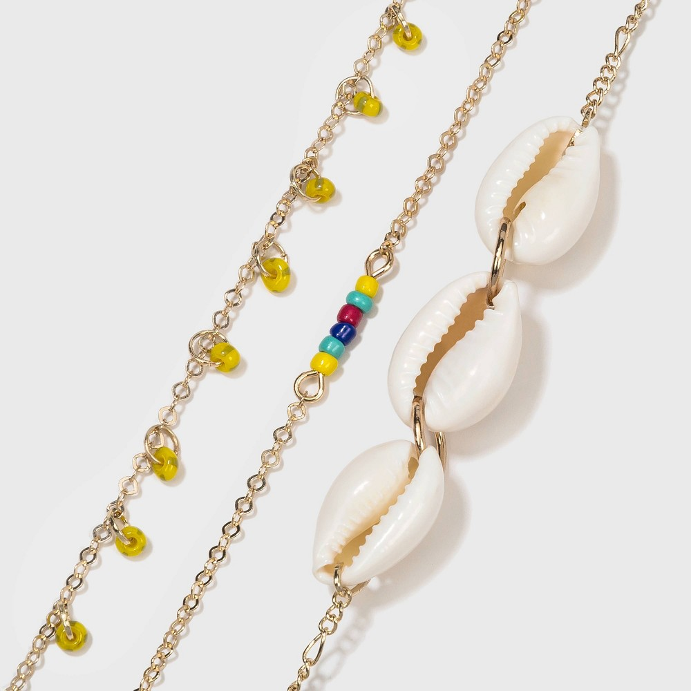 Image of Shiny Beaded Anklet Set - Wild Fable , Women's, Gold